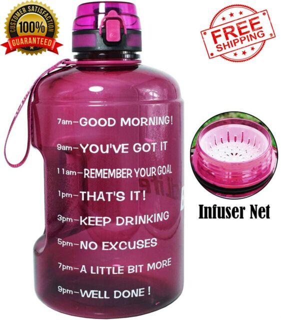 Motivational Water Bottle Wide Mouth with Time Marker//Flip Top Leak Proof Purple