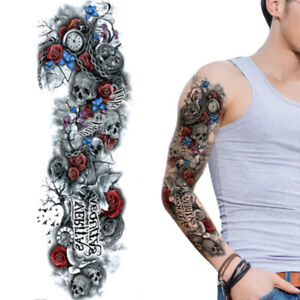 Tribal Roses Skulls Black Full Long Arm Temporary Tattoo Sleeve For