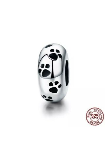 Cute Silver 925 Cat// Dog Footprint Spacer Bead Charm Uk Seller
