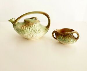 Vintage 1940-ART DECO-McCOY POTTERY TEAPOT & Sugar Brown Green DAISY Flowers