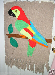 Details About Large Colorful Bird Parrot Mexican Style Yarn Art Wall Hanging Mat 22 X 26 Decor