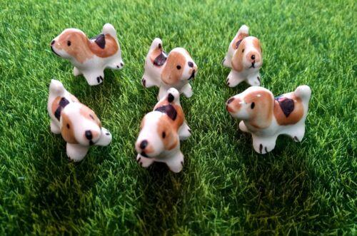 Beagle Dog Terrarium Stake Miniature Dollhouse Fairy Garden Accessories 4Pcs