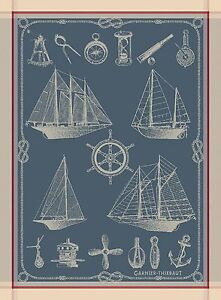 Garnier-Thiebaut-Woven-Kitchen-Dish-Towel-French-BATEAUX-SHIPS-BOATS-Nautical