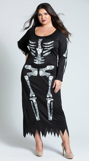 Skeleton Tube Dress Halloween Costume Size 18 to 20 Women Adult Black and  White