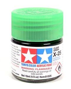 Tamiya-81525-Acrylic-Model-Paint-X-25-Clear-Green-10ml-Jar-T48-Post-UK