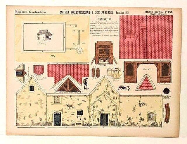 Imagerie d'epinal no 905 Maison bourguignonne moyennes consrtuctions modelo de papel