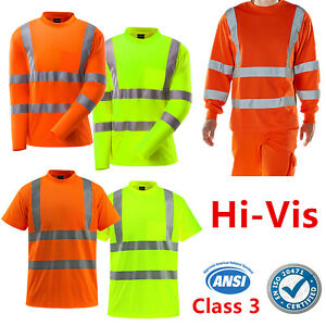 Hi-Vis-ANSI-Class-3-Reflective-Safety-Work-T-Shirt-High-Visibility-Breathable