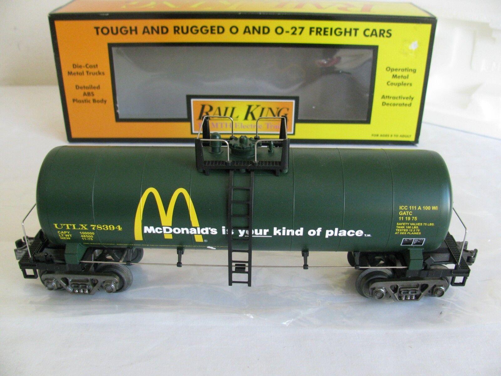 Vintage MTH Rail King O/O-27 Scale McDonald's Modern Tank Car  30-7336 EX