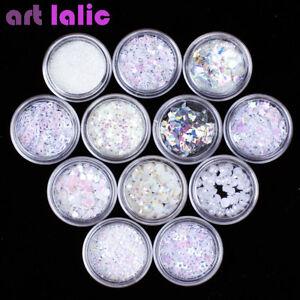12 Pots White 3d Nail Art Sequins Glitter Shapes Foil Pearl Gems