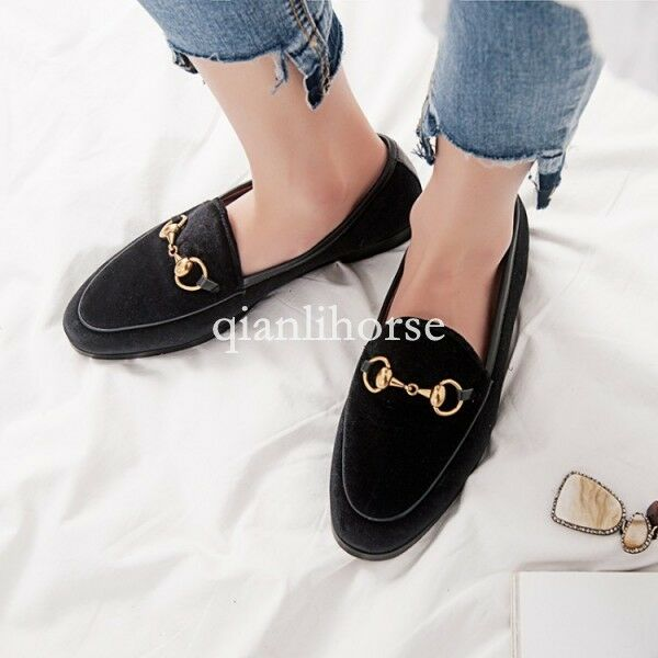 Womens Ladies Velvet Metal Decor Decor Decor Flats Loafers Slip ON Slippers shoes Oxfords SZ a539ae