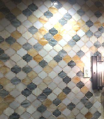 arabesque mixed color 11 x13 glass tile mosaic wall backsplash bath shower ebay