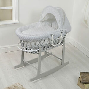 NEW 4BABY GREY WICKER / GREY DIMPLE PADDED BABY MOSES BASKET & ROCKING STAND