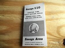 SAVAGE MODEL 110 CENTERFIRE BOLT ACTION RIFLE SMALL FOLDED  OWNER'S MANUAL