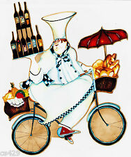 """8"""" FAT CHEF BIKE BICYCLE WINE KITCHEN PREPASTED WALLPAPER BORDER CUT OUT"""