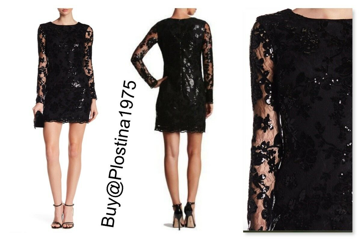 NEW DRESS THE POPULATION Grace Sequin Lace Shift Dress [Size  Large]  B80