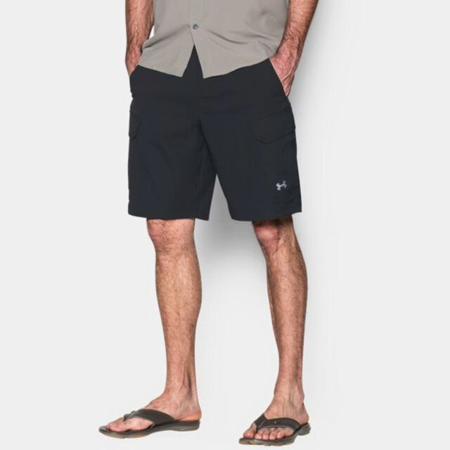 53b02cb484 Under Armour UA Fish Hunter Cargo Golf Shorts 1244207 40 Black Water Resis  Storm