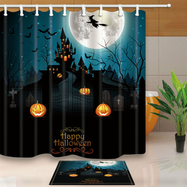Halloween Shower Curtain Set Witch Graveyard And Farmhouse Bathroom 71 Hover To Zoom