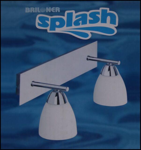 ♥ Badleuchte Wandleuchte 2102-028 Splash 2fl. Chrom / Weiß Wandlampe Badlampe