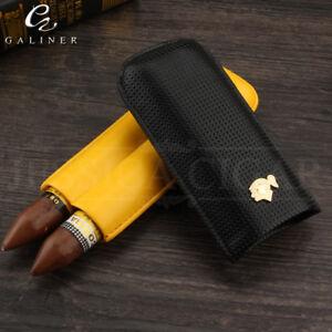 COHIBA-Classic-Black-amp-Yellow-Leather-Travel-2-Tube-Cigar-Case-Humidor-Holder