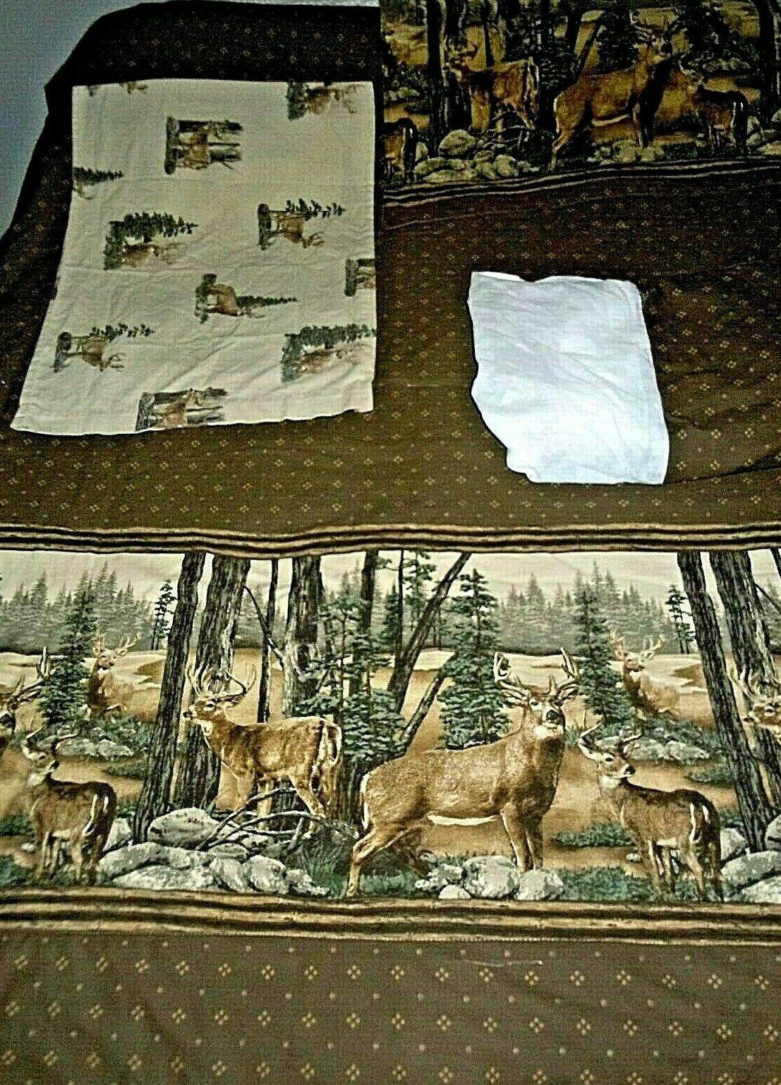 Set 4 Twin Bedding Comforter Bedskirt Pillow Sham Case Weißtail Dreams Deer EUC