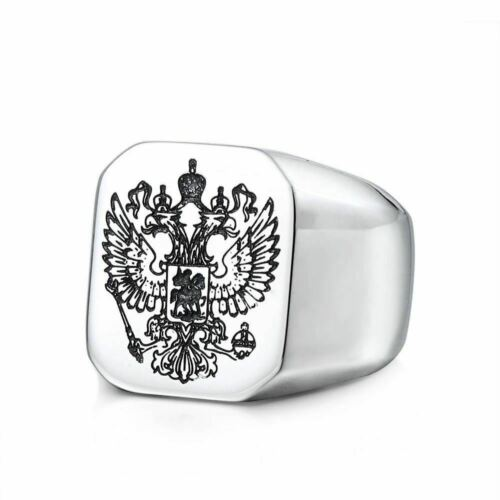 RUSSIAN Twin Eagles Coat Of Arms Symbolic Design Stainless Steel Ring New