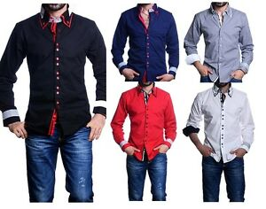 dc910cea404c Mens Italian Shirts Casual Double Collar Slim Fit Shirt Button Down ...