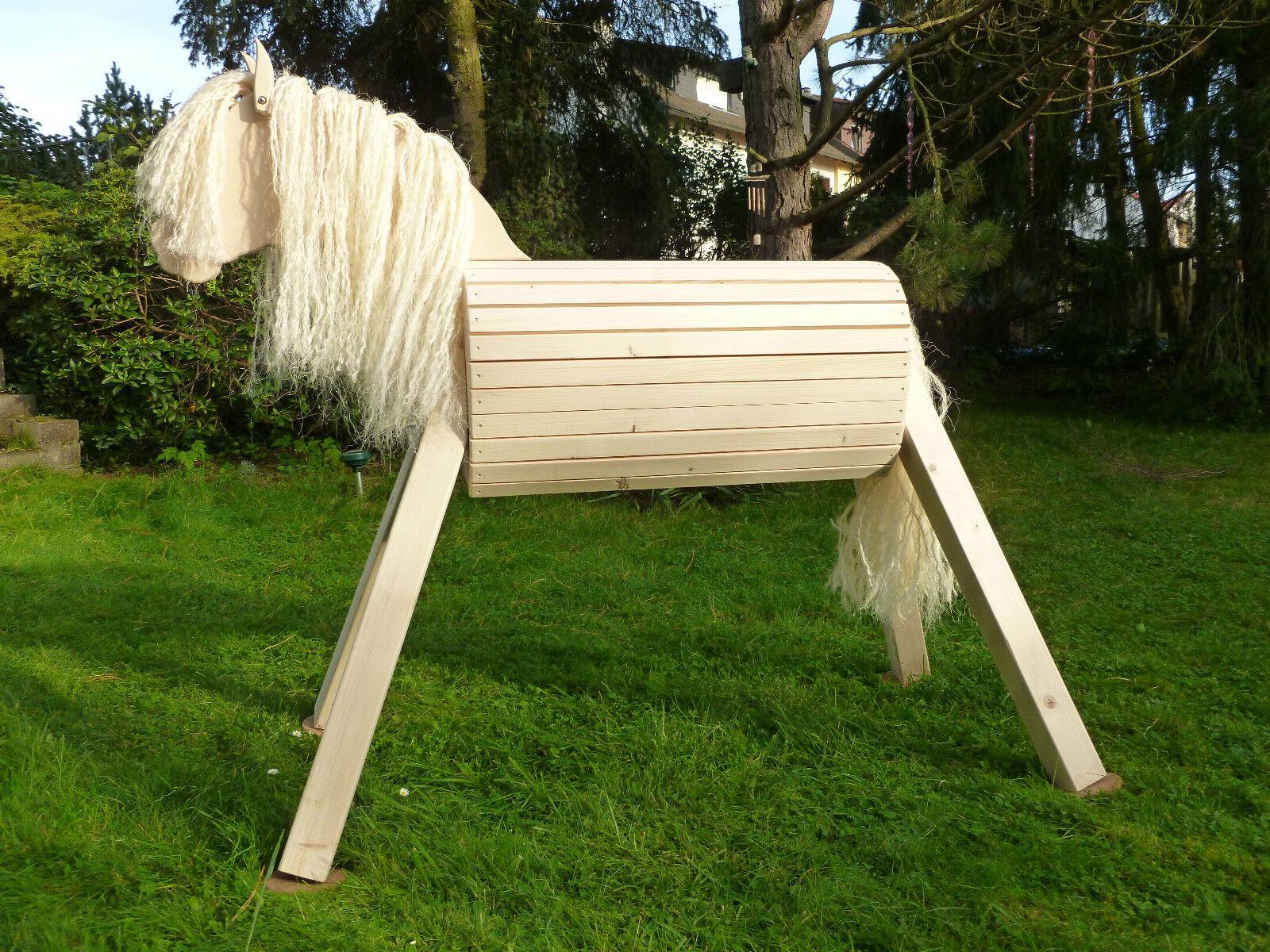 75cm Holzpferd Holzpony Voltigierpferd Spielpferd Pferd Pony unlasiert NEU