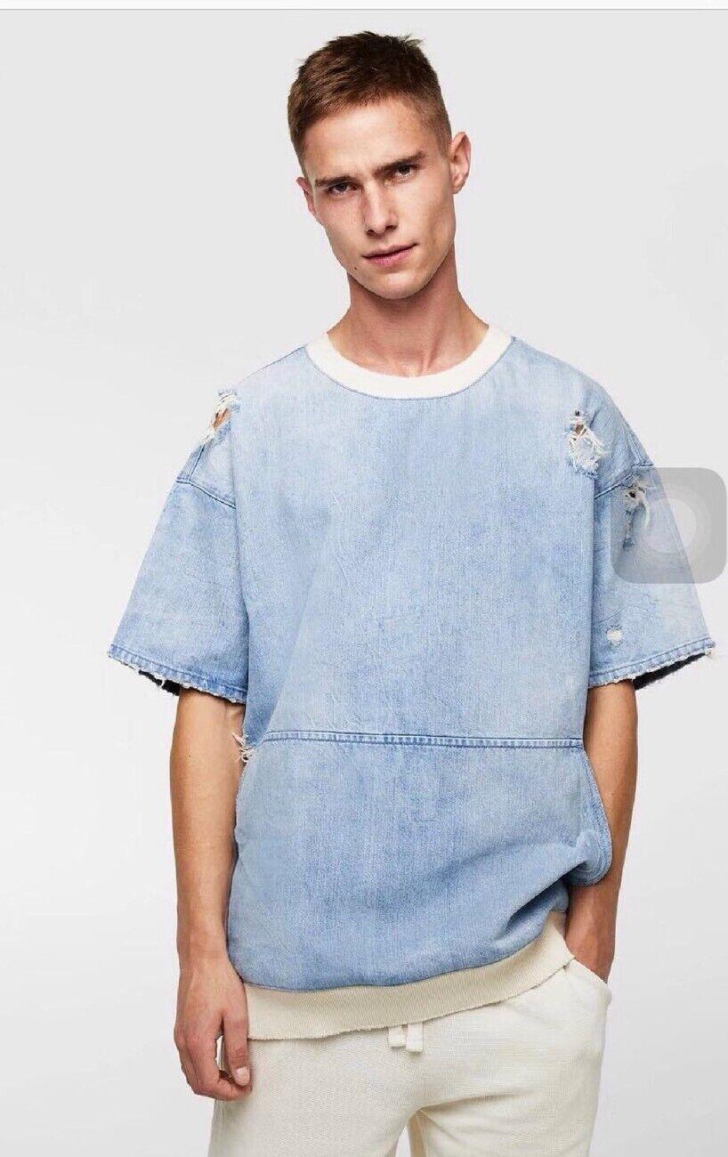 Zara Light bluee Short Sleeve Denim Sweatshirt with Rips Size L