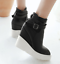 thumbnail 8 - Women Pointed Toe Wedge Heels Ankle Boots Punk Leather Vintage Party Chic Shoes