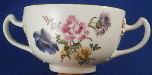 Antique Mid 18thC Meissen Porcelain Two Handled Floral Cup Porzellan Suppentasse