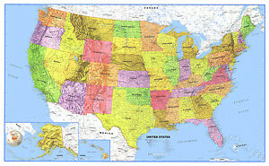 Us Map Mural.United States Usa Us Classic Wall Map Mural And Poster Ebay