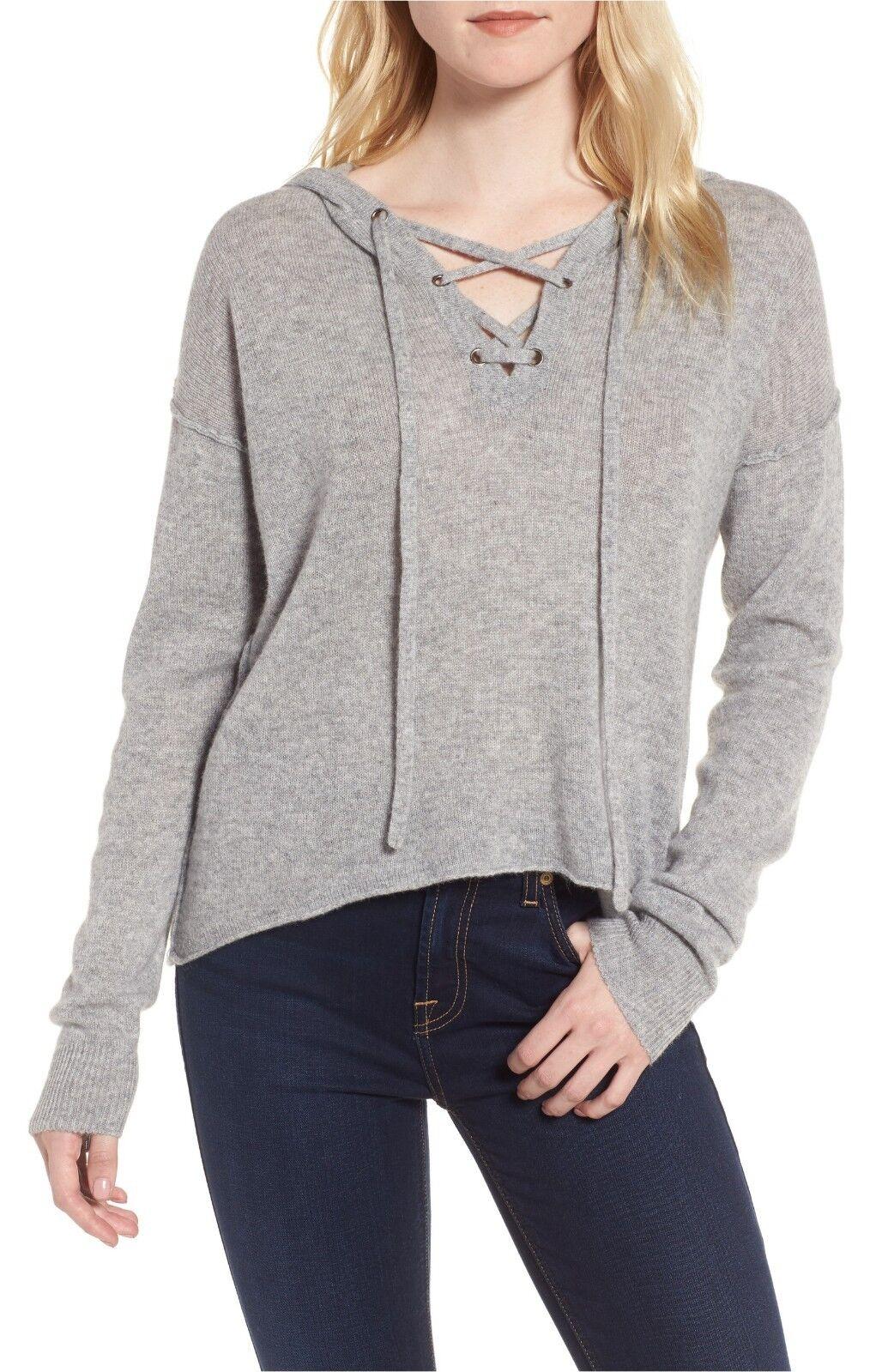 NWT Rails Dakota Lace-Up Cashmere Hooded Knit Sweater Heather Grey Size M  248