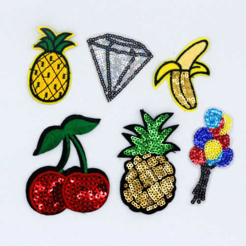 Sequins pineapple Embroidery Sew Iron On Patch Badge Bag Clothes Fabric Applique