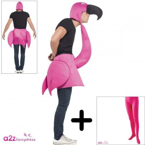 PINK TIGHTS Tropical Bird Mens Stag Hen Do Fancy Dress Flamingo Adult COSTUME