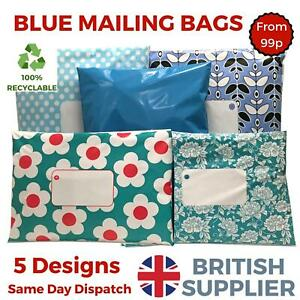 BLUE-Postal-Plastic-Packaging-Mailing-Bags-Coloured-Polka-Dot-Daisy-Floral-Spot