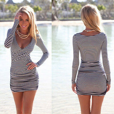 Lady Women's Summer Dress Skirt Strips Nightclubs Beach Sexy V neck Clothes New