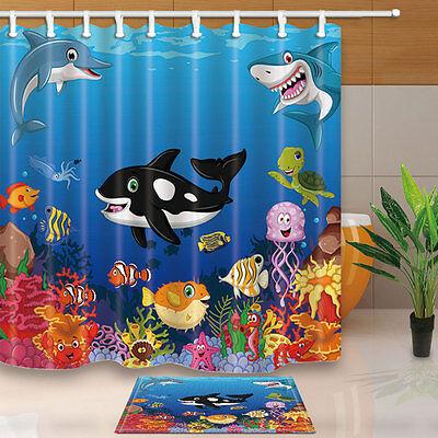3D Cartoon Sea Turtles Dolphin Whale Waterproof Bathroom Shower Curtain Fabric