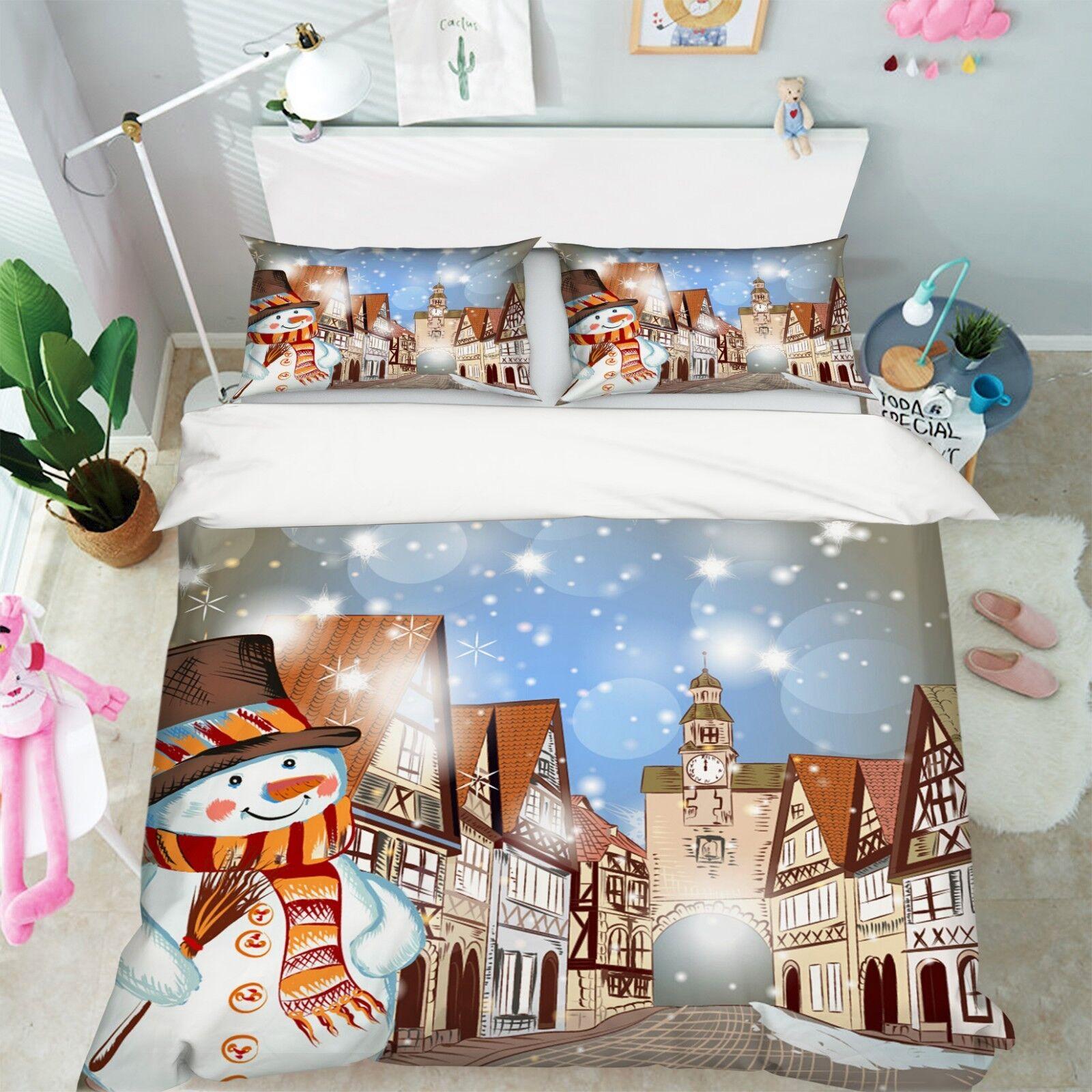 3D Christmas  Xmas 24 Bett Pillowcases Quilt Duvet Startseite Set Single Königin König AU