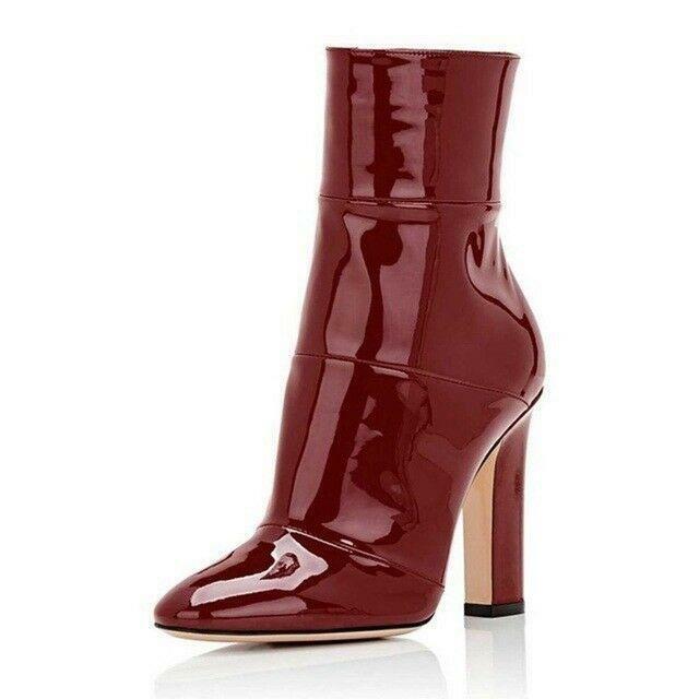 Femmes Bout Pointu Et Cuir Verni Bottines Talon Haut Bloc Chaussures Cuir Verni