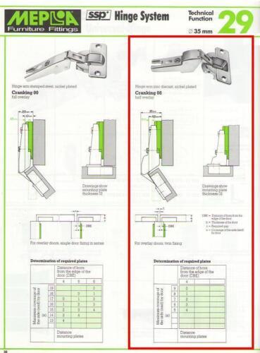 MEPLA 35mm HINGE #SSP28-153Z08 HALF-OVERLAY,FREE-SWINGING,130 DEGREES