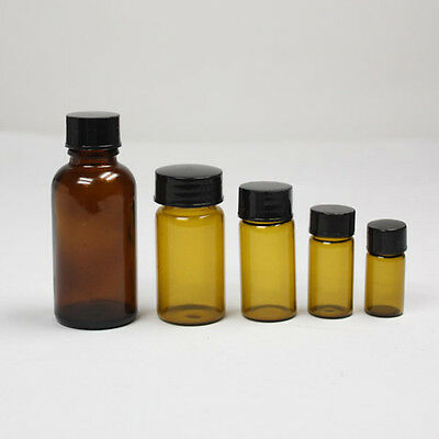 10 x 3ml Brown Glass Sample Bottle Vial Reagent Container Screw Lid bottle