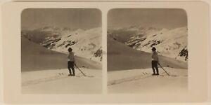 Suisse Col Del Strela Montagne Neige c1905 Foto Stereo Vintage Analogica