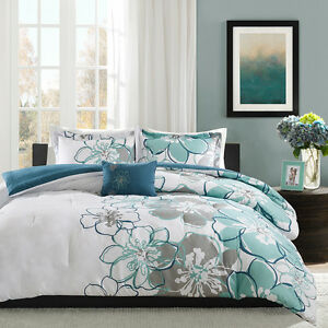Details About Beautiful Chic Modern Blue Grey Green Aqua Teal White Contemporary Comforter Set