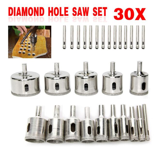 Diamond Holesaw 30Pcs//Set Holes Saw Drill Bit Cutter Tile Glass Marble Ceramic