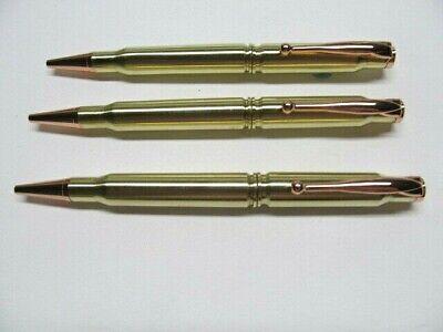 VERY NICE!!! 3pc  Handmade RIFLE BULLET Pens from .308 Brass /& 30-06 Cartridges