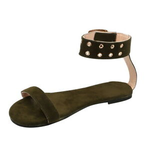 2019 Summer Beach Roman Sandal Ladies Open Toe Flat Sandal #30,Beige,39,United States