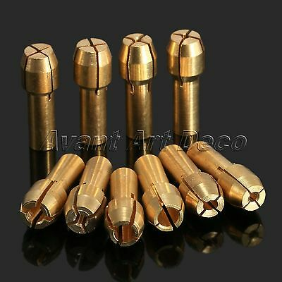 10Pcs/set 0.5-3.2mm Brass Collet Bits Clamps 4.8mm Fit Rotary Caliber Pin Vises