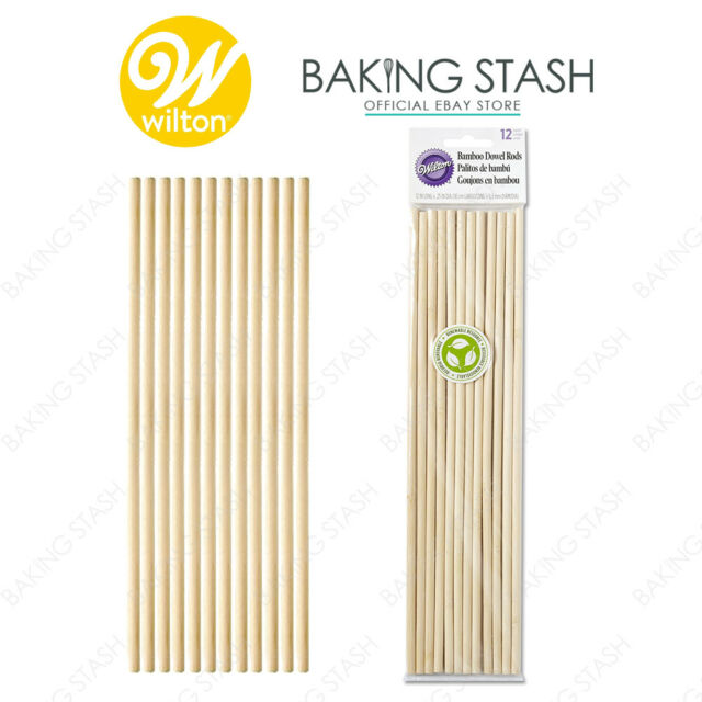 Wilton Bamboo Dowel Rods Pillar Wedding Cake Tier Tiered Rod Support - 12 Pack