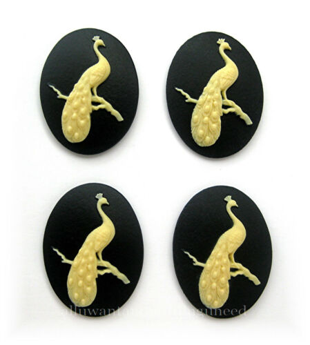 4 IVORY Color on BLACK  Male PEACOCK on Branch 40mm x 30mm Craft CAMEOS PEA FOWL