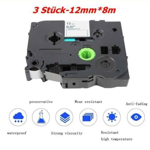 3x-Schriftband-Kassette-12mm*8m for Brother TZ-231-TZe231  Schwarz-auf-Weis R0X6